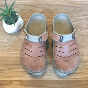 Brown CROCS Clogs Leather Slip-On Shoes